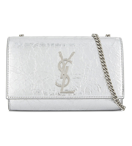 SAINT LAURENT Monogram Kate leather shoulder bag (Silver