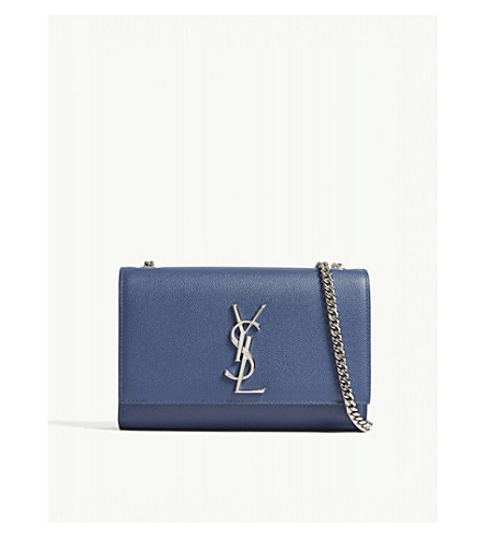 SAINT LAURENT Monogram Kate small pebbled leather cross-body bag (Denim+blue
