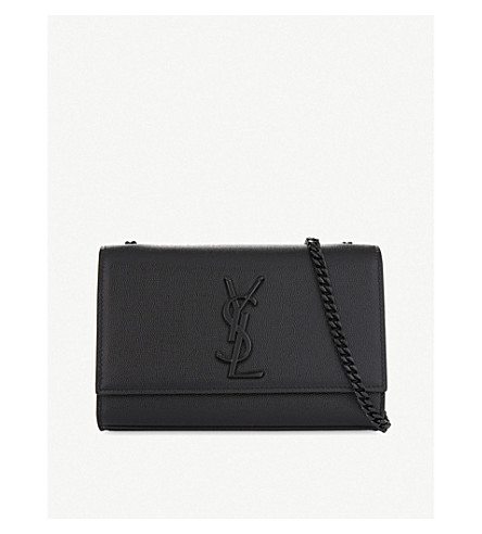 SAINT LAURENT Monogram Kate small pebbled leather cross-body bag (Black+black