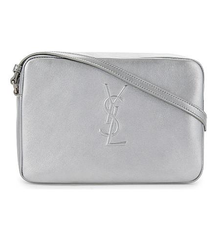 SAINT LAURENT Monogram leather cross-body bag (Argento