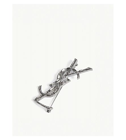 SAINT LAURENT YSL logo brass brooch (Silver