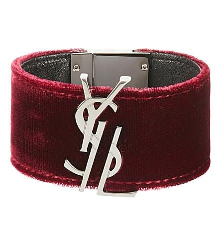 SAINT LAURENT Velvet and leather bracelet (Burgendy