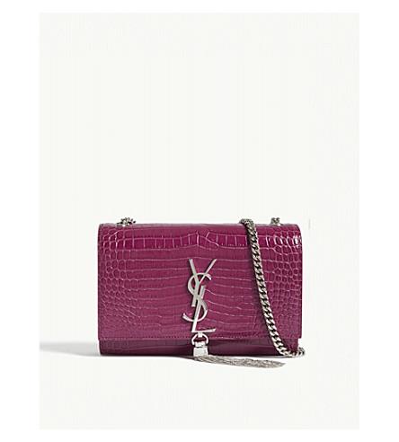 SAINT LAURENT Kate monogram small crocodile-embossed leather shoulder bag (Pivoive+pink