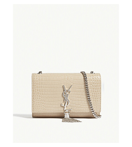SAINT LAURENT Kate Tassel small crocodile-embossed leather cross-body bag (Poudre