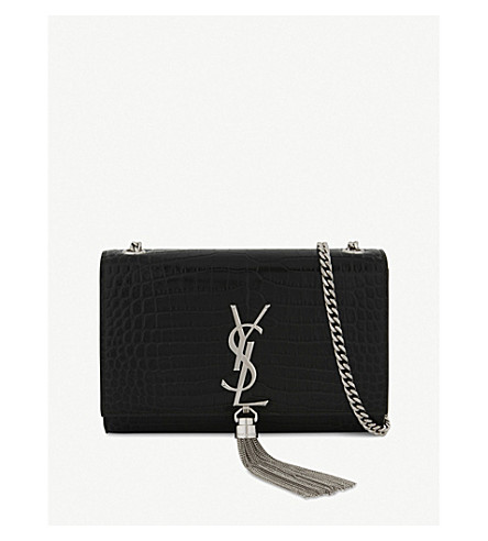 SAINT LAURENT Kate crocodile-embossed leather cross-body bag (Black