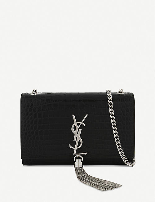 SAINT LAURENT - Kate crocodile-embossed leather cross-body bag ... 6b1a9decc6689