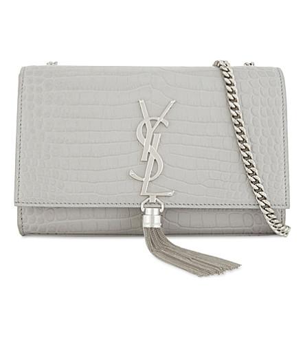 SAINT LAURENT Kate crocodile-embossed leather cross-body bag (Grey