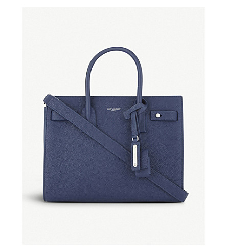 SAINT LAURENT Grained leather Sac De Jour tote bag (Denim+blue