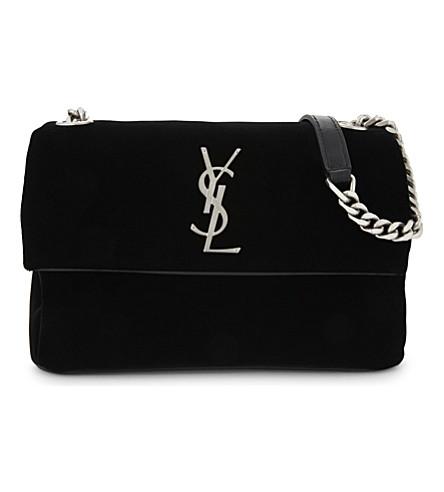 SAINT LAURENT West Hollywood small velvet cross-body bag (Black