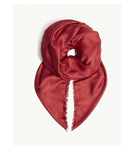 SAINT LAURENT Monogram silk scarf (Lacquer