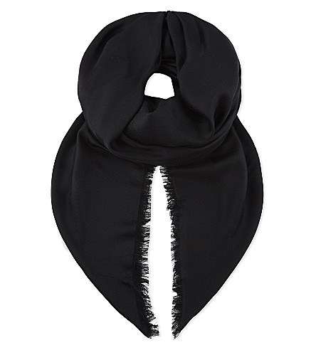 SAINT LAURENT Sigil silk scarf (Black