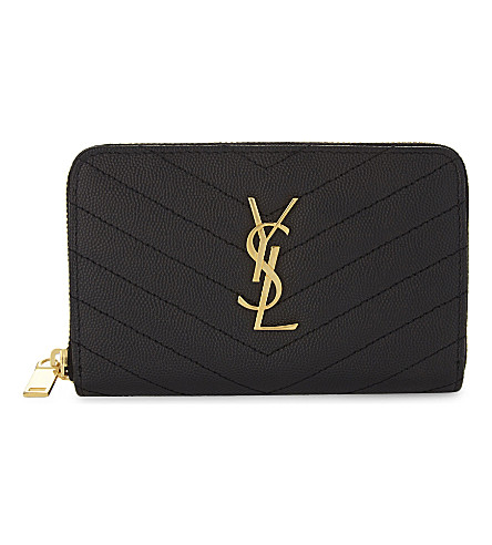 SAINT LAURENT Monogram medium pebbled leather purse (Black/gold