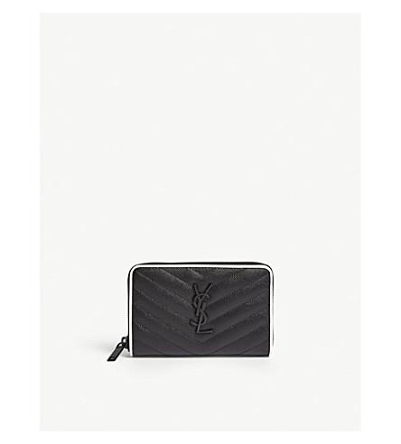 SAINT LAURENT Monogram small pebbled leather zip-around wallet (Black/white