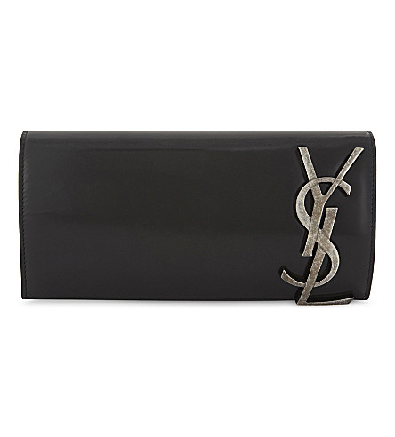 SAINT LAURENT Smoking leather monogram clutch bag (Black