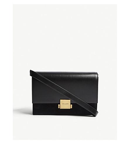 SAINT LAURENT Bellechasse leather and suede satchel (Black