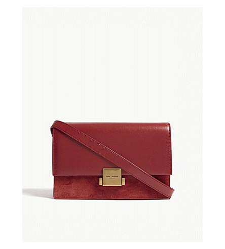 SAINT LAURENT Bellechasse leather and suede satchel (Rouge