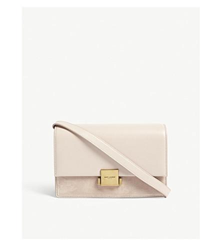 SAINT LAURENT Bellechasse suede leather shoulder bag (Marble+pink