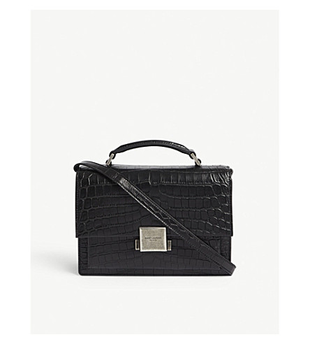 SAINT LAURENT Bellechasse croc-embossed leather shoulder bag (Black
