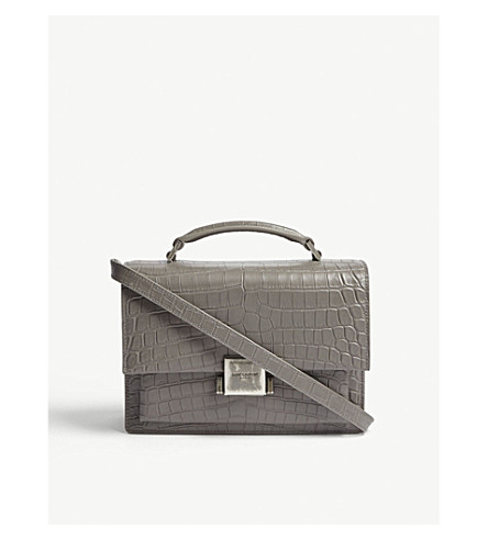 SAINT LAURENT Bellechasse crocodile-embossed leather satchel (Fog