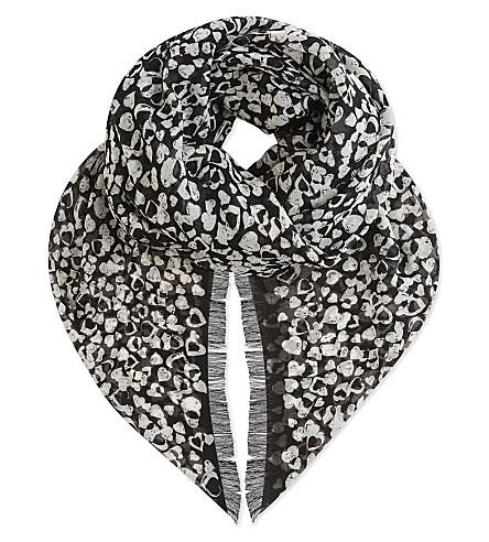 SAINT LAURENT Heart print pure wool scarf (Noir+natural