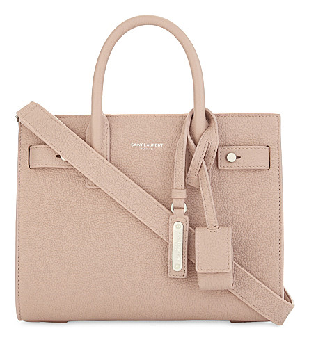 SAINT LAURENT Sac de Jour nano grained leather tote (Pale+blush