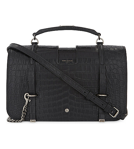 SAINT LAURENT Charlotte large crocodile-embossed leather shoulder bag (Black