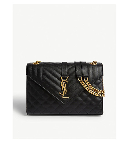 Black SAINT LAURENT quilted quilted LAURENT gold satchel satchel leather leather Monogram SAINT Monogram UqBWaPd4q
