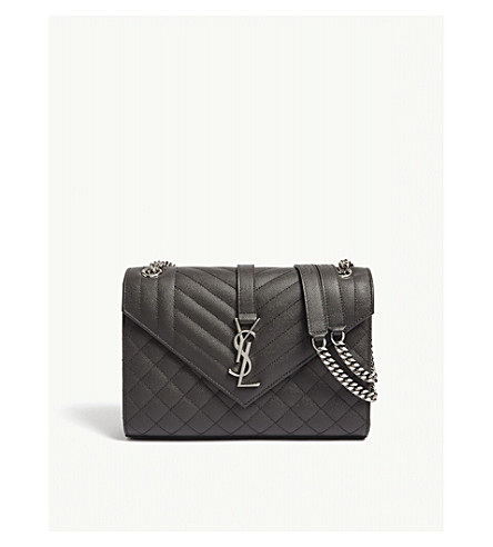 SAINT LAURENT Monogram medium pebbled leather shoulder bag (Aspalt+grey