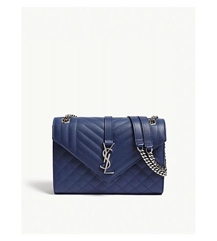 SAINT LAURENT Quilted leather satchel (Denim+blue