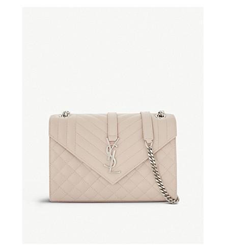 SAINT LAURENT Monogram quilted leather shoulder bag (Marble+pink/silver