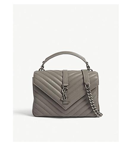 SAINT LAURENT Monogram Collége small quilted leather shoulder bag (Fog