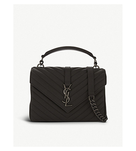 SAINT LAURENT Monogram Collége small quilted leather shoulder bag (Aspalt+grey