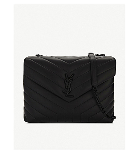 SAINT LAURENT LouLou monogram leather shoulder bag (Black/black