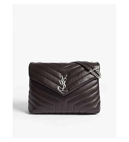 SAINT LAURENT Monogram LouLou medium leather shoulder bag (Black+tulip