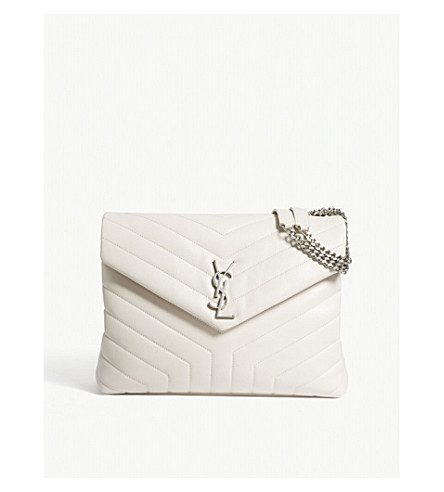 SAINT LAURENT Monogram LouLou medium quilted leather shoulder bag (Cream