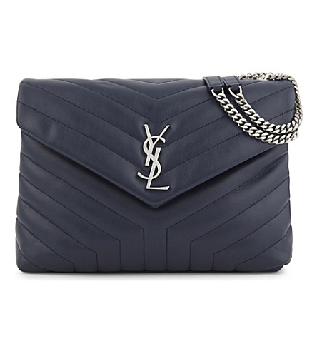 SAINT LAURENT Monogram LouLou quilted leather shoulder bag (Blue+fonce