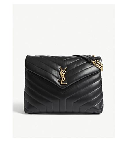 SAINT LAURENT Monogram LouLou medium leather shoulder bag (Black/gold