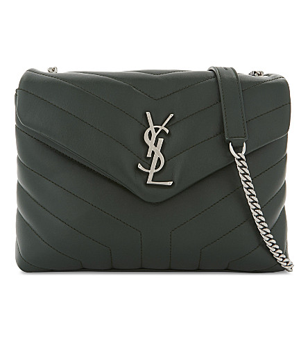 SAINT LAURENT Monogram LouLou leather shoulder bag (Dark+leaf