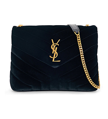 SAINT LAURENT Lou Lou velvet shoulder bag (Black