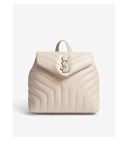 SAINT LAURENT LouLou small quilted leather backpack (Marble+pink