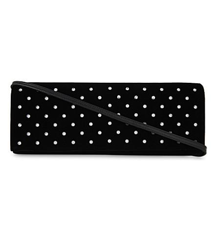 SAINT LAURENT Diamanté velvet cross-body bag (Black