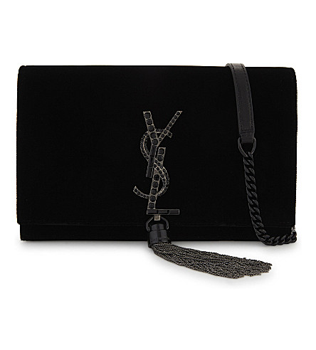 SAINT LAURENT Kate velvet tassel clutch bag (Black