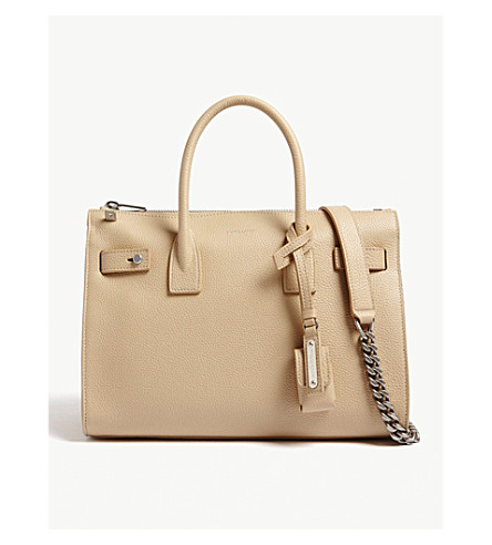SAINT LAURENT Sac de Jour baby duffle leather shoulder bag (Poudre