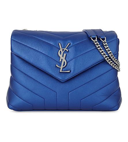 SAINT LAURENT LouLou Monogram leather cross-body bag (Blue+metallic