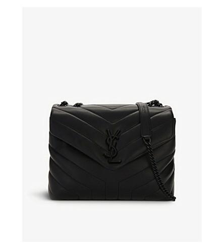 SAINT LAURENT Monogram LouLou small leather shoulder bag (Black/black