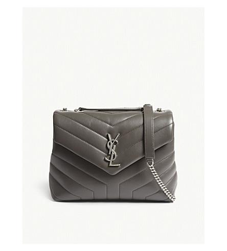 SAINT LAURENT Loulou small leather shoulder bag (Aspalt+grey