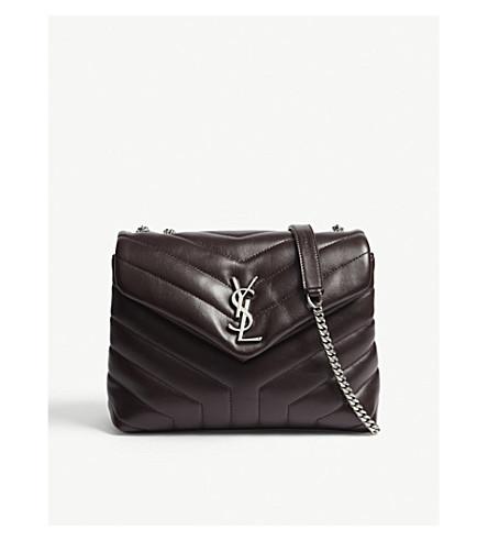 SAINT LAURENT Monogram LouLou small leather shoulder bag (Black/tulip