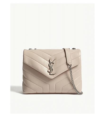 SAINT LAURENT Monogram LouLou small leather shoulder bag (Marble+pink