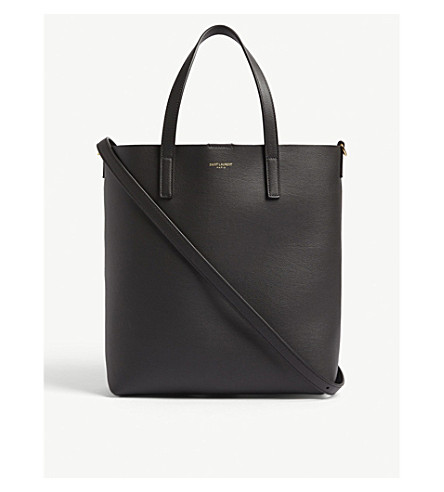 SAINT LAURENT Toy North-South leather tote (Aspalt+grey