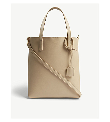 SAINT LAURENT Toy North/South leather tote (Poudre